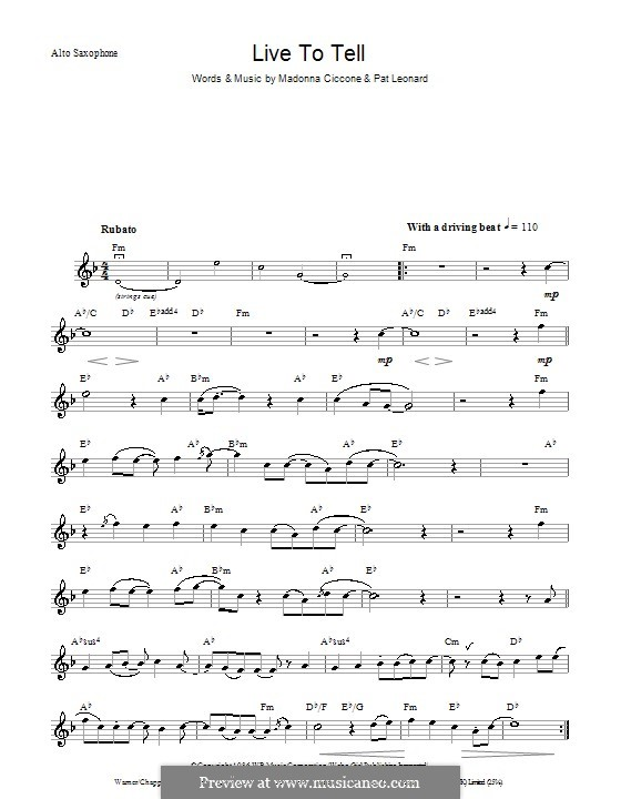 Live to Tell: para saxofone by Madonna, Patrick Leonard