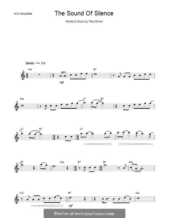 The Sound of Silence (Simon & Garfunkel): para Saxofone Alto by Paul Simon