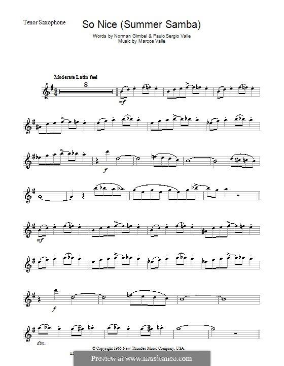 So Nice (Summer Samba): para saxofone tenor by Marcos Valle, Paulo Sergio Valle