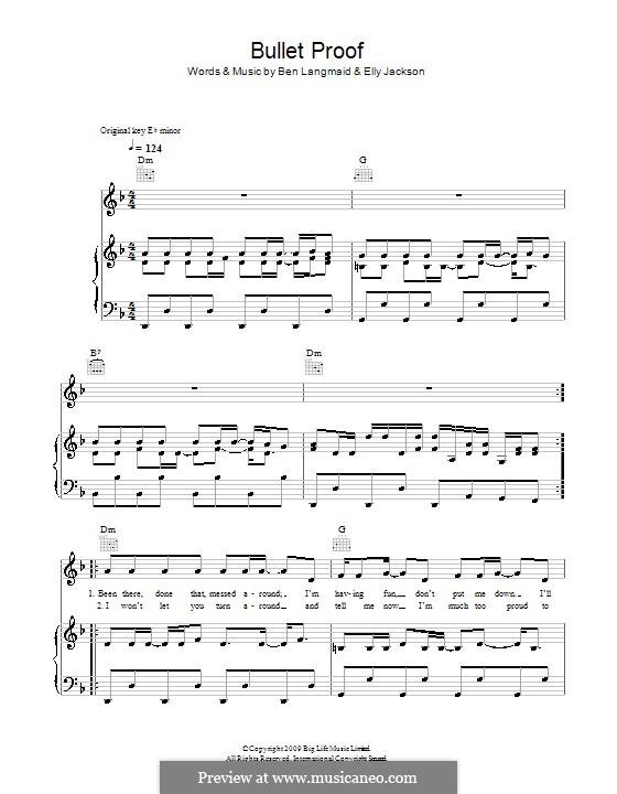 Bullet Proof (La Roux): Para vocais e piano (ou Guitarra) by Ben Langmaid, Elly Jackson