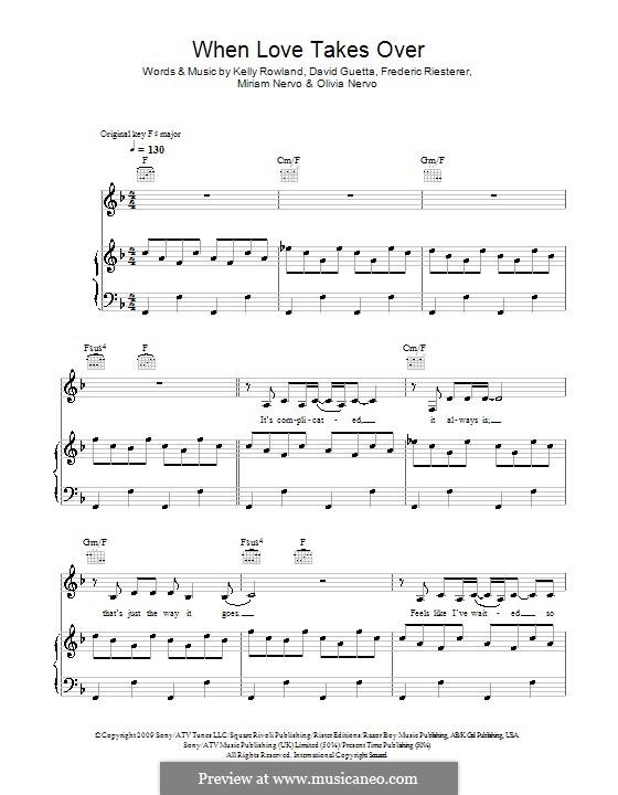 When Love Takes Over (David Guetta feat. Kelly Rowland): Para vocais e piano (ou Guitarra) by David Guetta, Frédéric Riesterer, Kelly Rowland, Olivia Nervo, Miriam Nervo