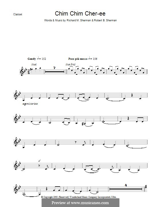 Chim Chim Cher-ee (from Mary Poppins): para clarinete by Richard M. Sherman, Robert B. Sherman