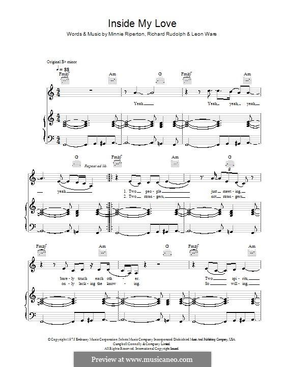 Inside My Love: Para vocais e piano (ou Guitarra) by Leon Ware, Minnie Riperton, Richard Rudolph