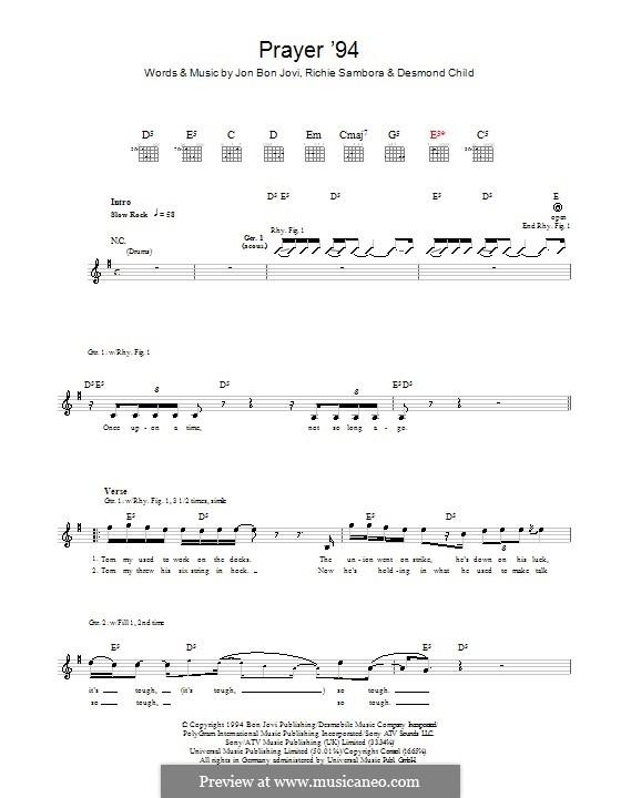 Prayer '94 (Bon Jovi): Para guitarra com guia by Desmond Child, Jon Bon Jovi, Richie Sambora