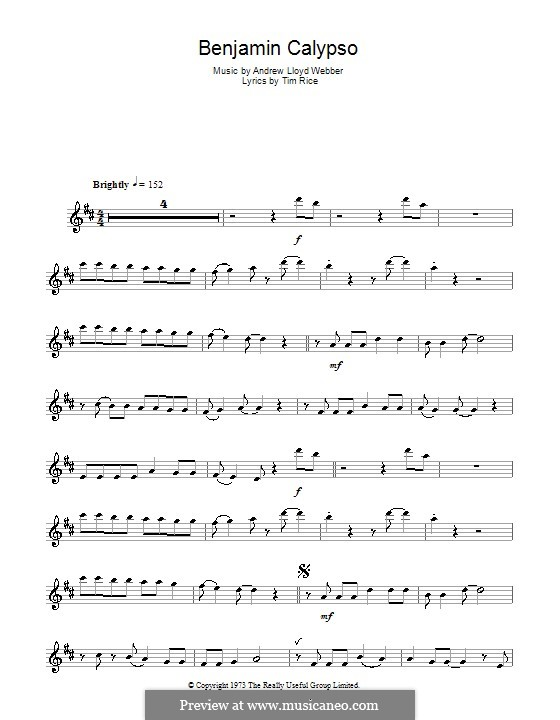 Benjamin Calypso: para Saxofone Alto by Andrew Lloyd Webber