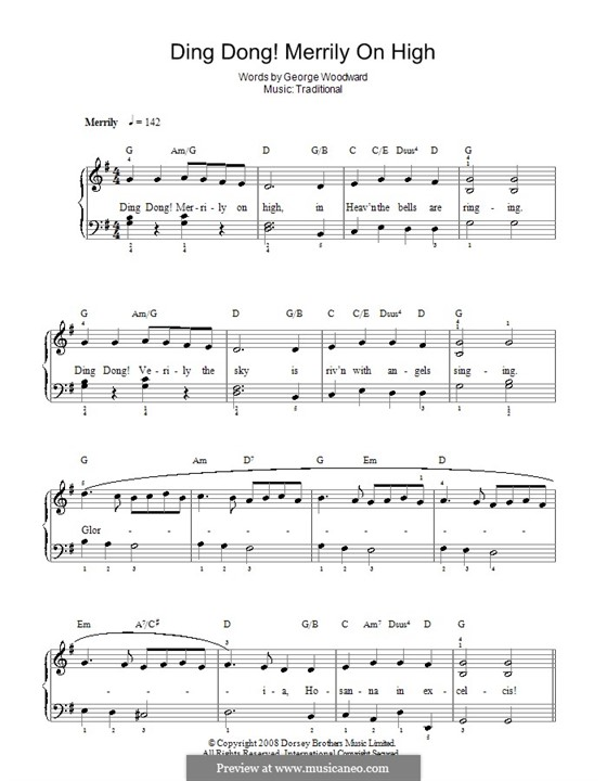 Ding Dong! Merrily on High (Printable Scores): Facil para o piano by folklore