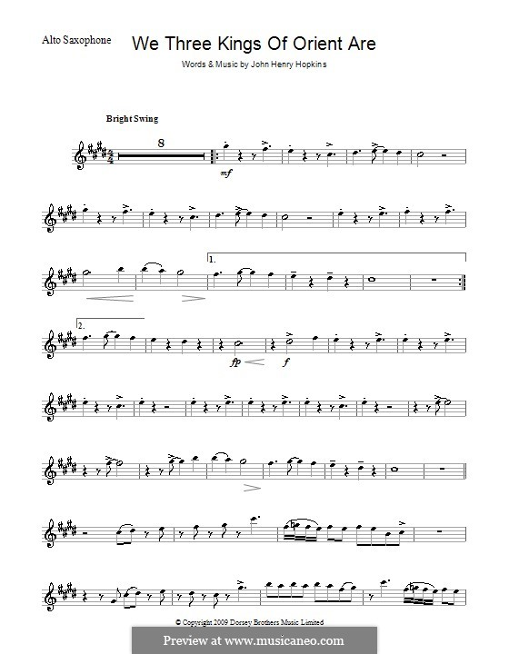 We Three Kings of Orient are (Printable Scores): para Saxofone Alto by John H. Hopkins Jr.