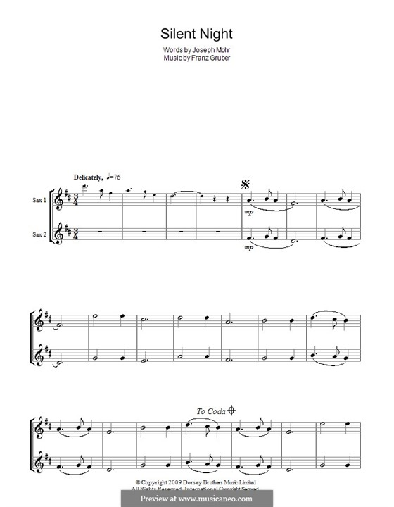 Silent Night (Printable): For two tenor saxophones by Franz Xaver Gruber