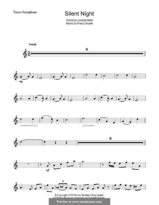 Silent Night (Printable): For tenor saxophone by Franz Xaver Gruber