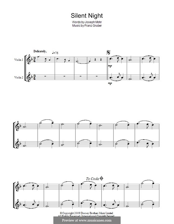 Silent Night (Printable): For two violins by Franz Xaver Gruber