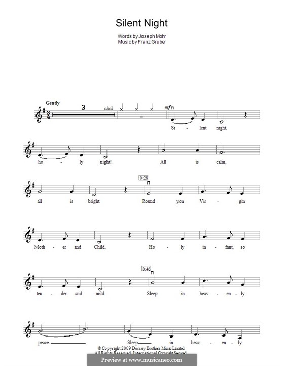 Silent Night (Printable): For violin by Franz Xaver Gruber