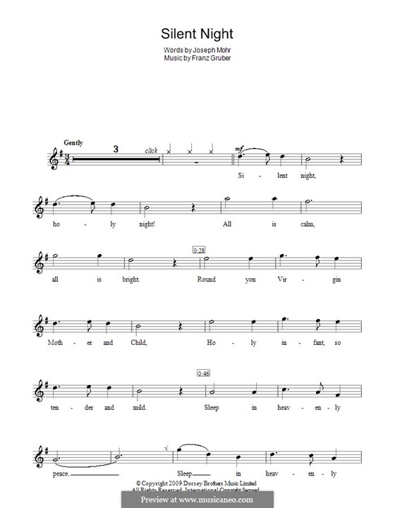 Silent Night (Printable): For recorder by Franz Xaver Gruber