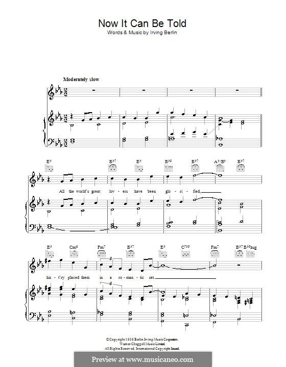 Now It Can Be Told: Para vocais e piano (ou Guitarra) by Irving Berlin