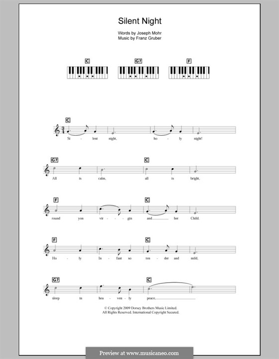 Silent Night (Printable): For keyboard by Franz Xaver Gruber