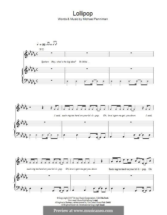 Lollipop: Para vocais e piano (ou Guitarra) by Mika