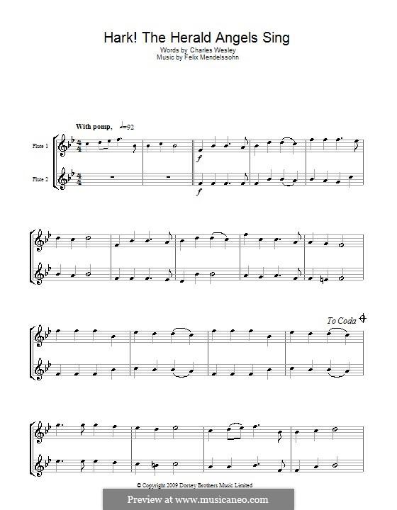 Hark! The Herald Angels Sing: para duas flautas by Felix Mendelssohn-Bartholdy