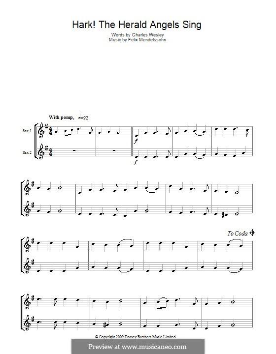 Hark! The Herald Angels Sing: For two saxophones by Felix Mendelssohn-Bartholdy