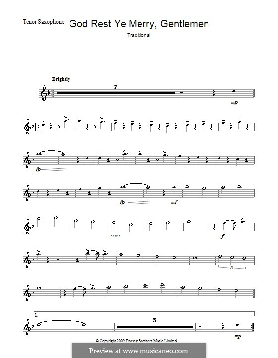 God Rest You Merry, Gentlemen (Printable Scores): para saxofone tenor by folklore