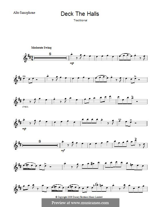 Deck the Hall (Printable): para Saxofone Alto by folklore