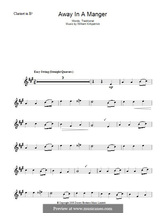 Away in a Manger: para clarinete by William (James) Kirkpatrick