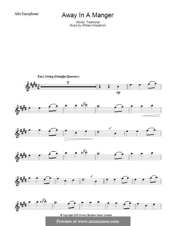 Away in a Manger: para Saxofone Alto by William (James) Kirkpatrick