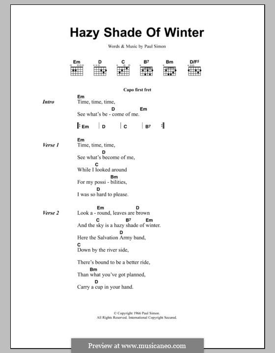 A Hazy Shade of Winter (Simon & Garfunkel): Letras e Acordes by Paul Simon