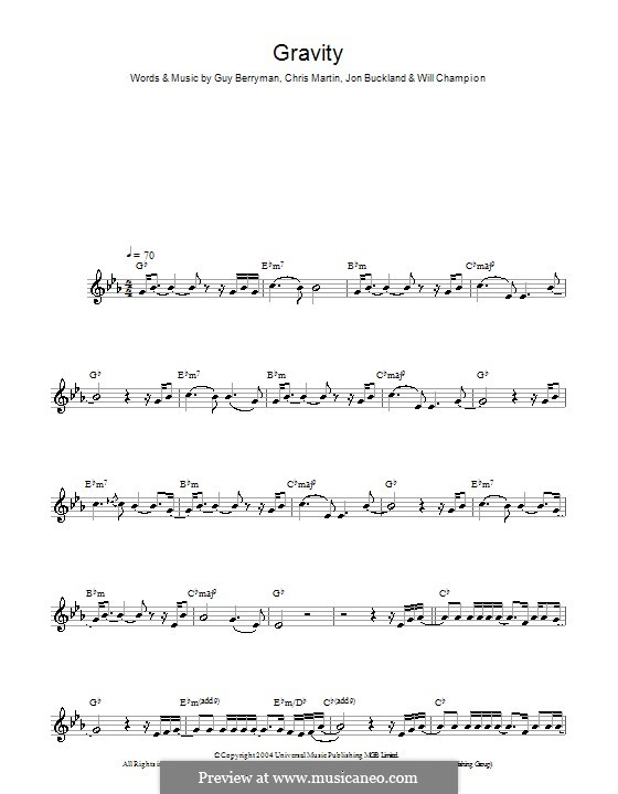 Gravity (Embrace): para saxofone by Chris Martin, Guy Berryman, Jonny Buckland, Will Champion