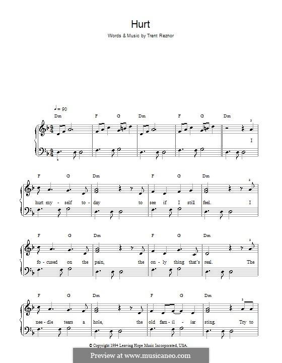 Hurt (Nine Inch Nails): Facil para o piano by Trent Reznor