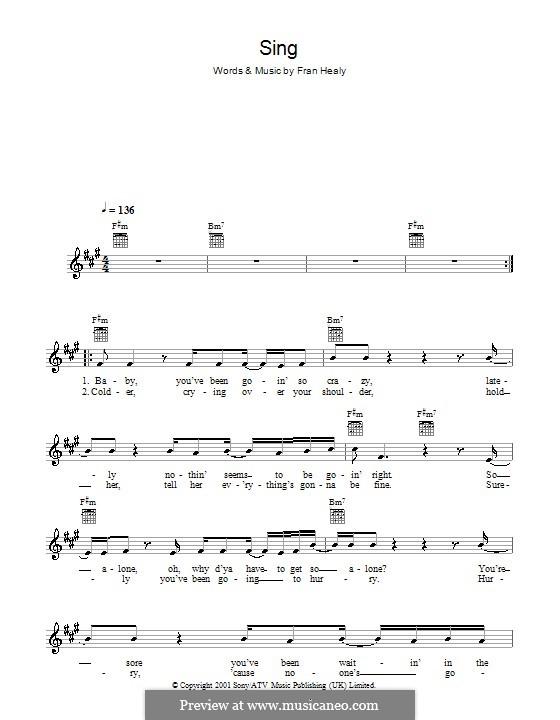 Sing (Travis): melodía,letras e acordes by Fran Healy