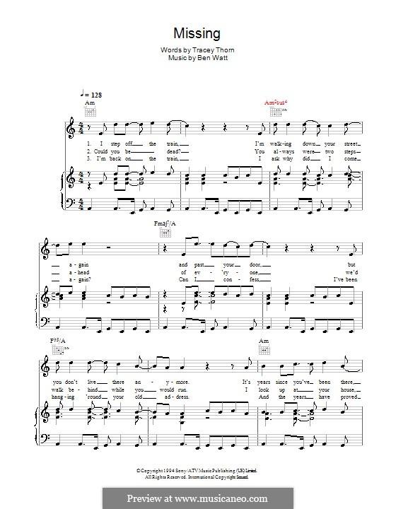 Missing (Everything But the Girl): Para vocais e piano (ou Guitarra) by Benjamin Watt