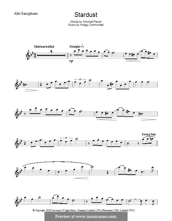 Stardust (Frank Sinatra): para Saxofone Alto by Hoagy Carmichael