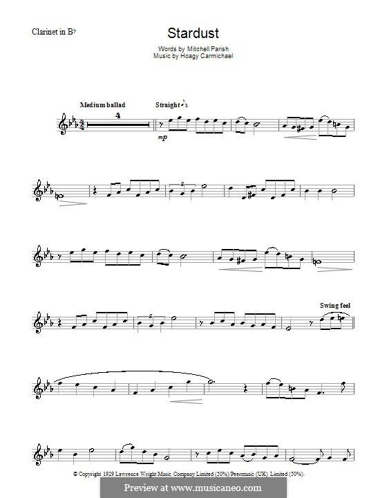 Stardust (Frank Sinatra): para clarinete by Hoagy Carmichael