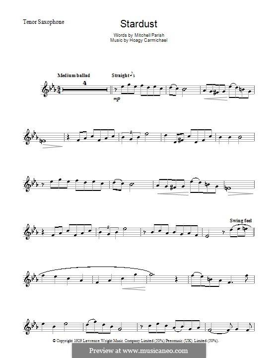 Stardust (Frank Sinatra): para saxofone tenor by Hoagy Carmichael