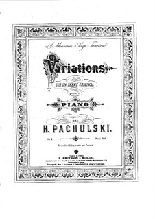 Variations on an Original Theme, Op.1: variações em temas originais by Henryk Pachulski