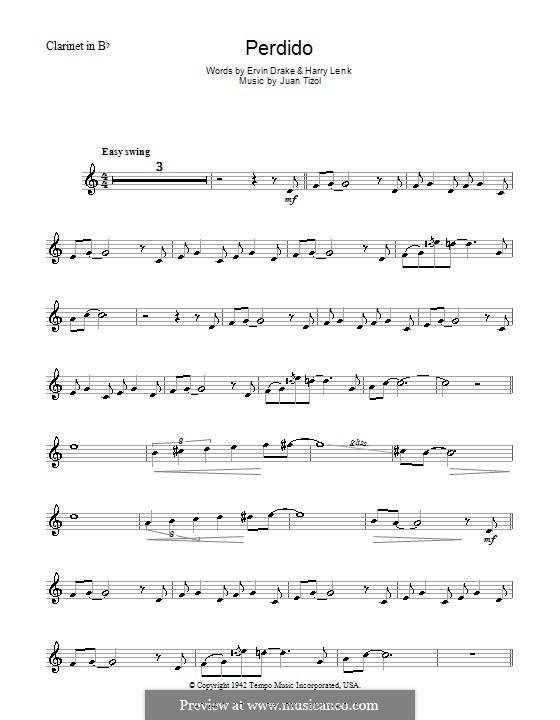 Perdido (Duke Ellington): para clarinete by Juan Tizol