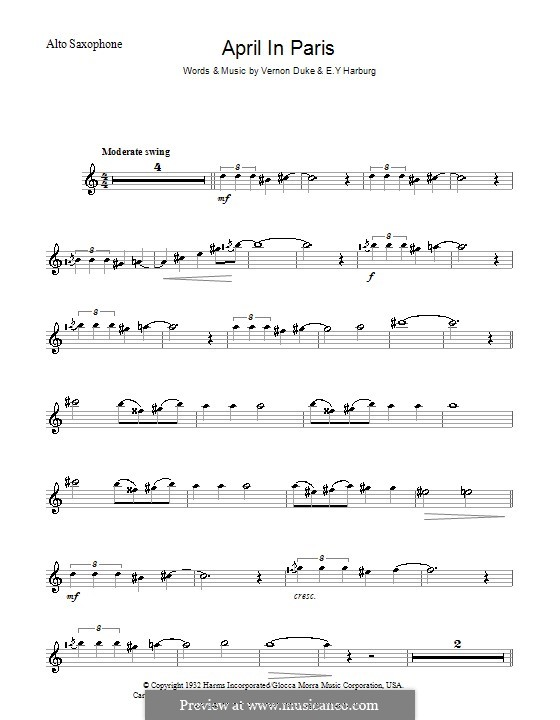 April in Paris: para Saxofone Alto by Vernon Duke