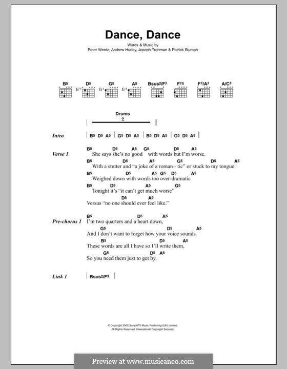 Dance, Dance (Fall Out Boy): Letras e Acordes by Andrew Hurley, Joseph Trohman, Patrick Stump, Peter Wentz