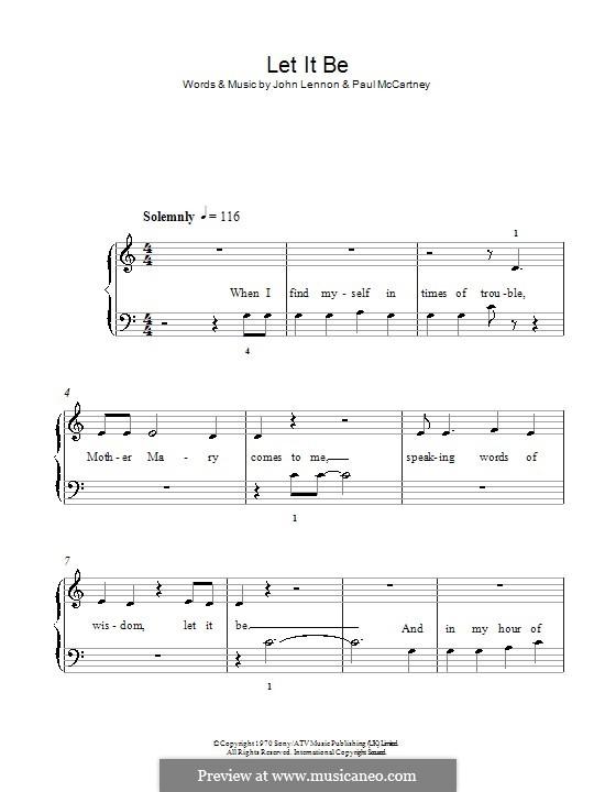 Let it Be, for Piano: Facil para o piano by John Lennon, Paul McCartney