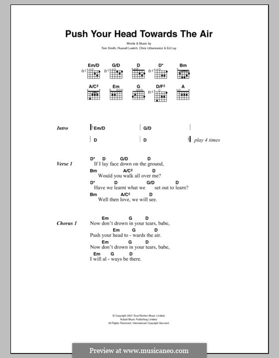 Push Your Head Towards the Air (Editors): Letras e Acordes by Christopher Urbanowicz, Edward Lay, Russell Leetch, Thomas Henry Smith
