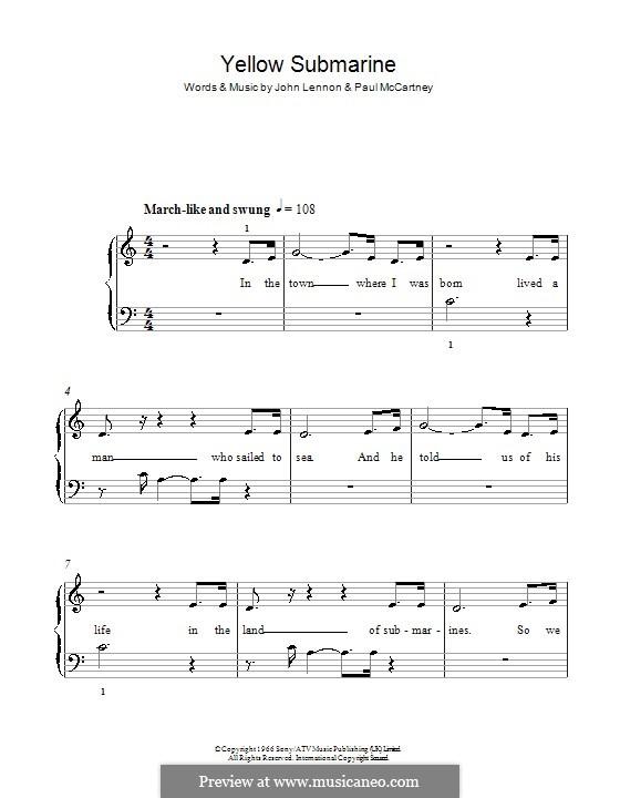 Yellow Submarine (The Beatles): Facil para o piano by John Lennon, Paul McCartney