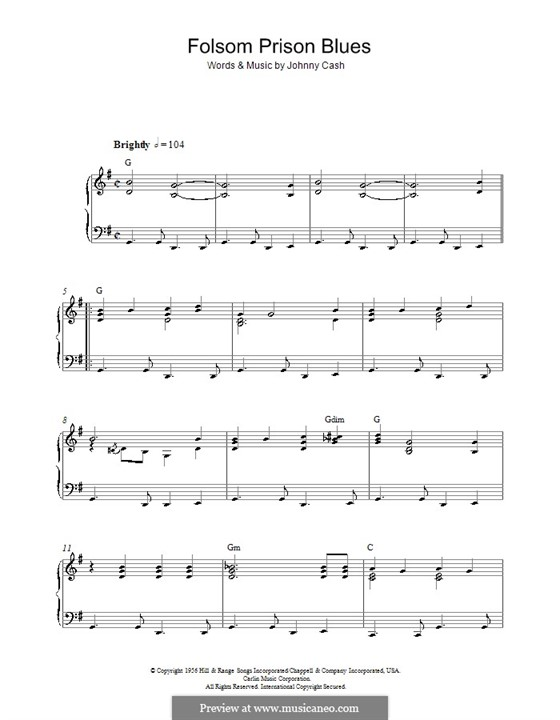 Folsom Prison Blues: Para Piano by Johnny Cash