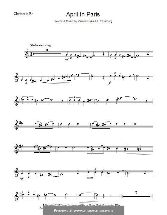 April in Paris: para clarinete by Vernon Duke