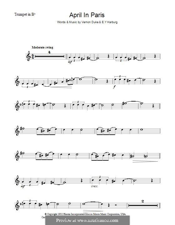 April in Paris: para trompeta by Vernon Duke