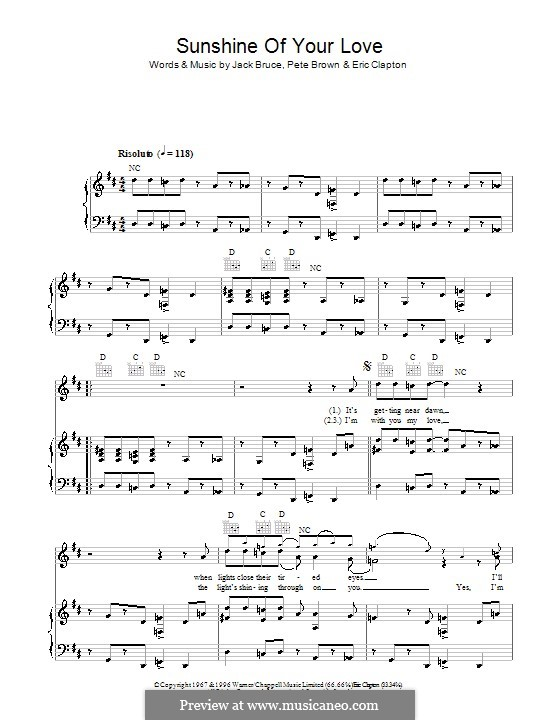 Sunshine of Your Love (Cream): Para vocais e piano (ou Guitarra) by Eric Clapton, Jack Bruce, Pete Brown