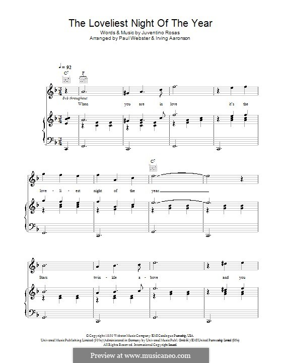 The Loveliest Night of the Year: Para vocais e piano (ou Guitarra) by Juventino Rosas