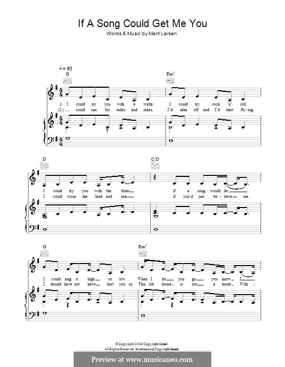 If a Song Could Get Me You: Para vocais e piano (ou Guitarra) by Marit Larsen