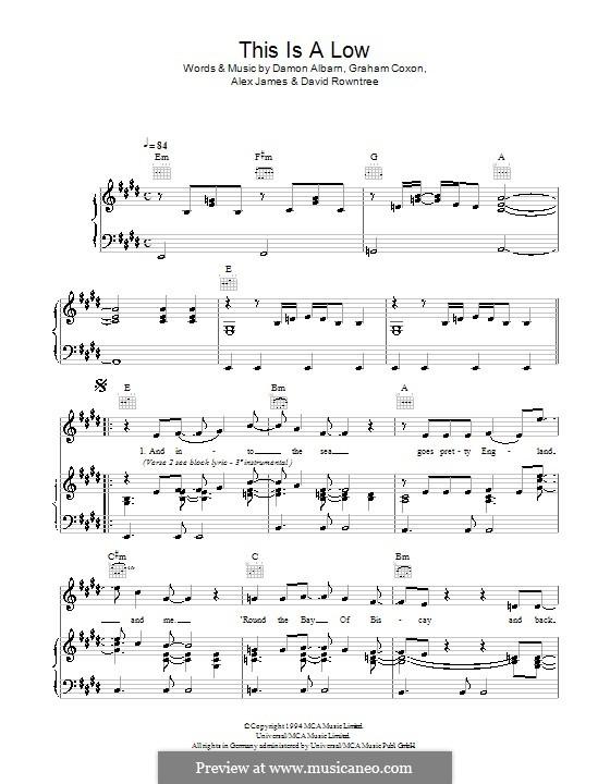 This Is a Low (Blur): Para vocais e piano (ou Guitarra) by Alex James, Damon Albarn, David Rowntree, Graham Coxon