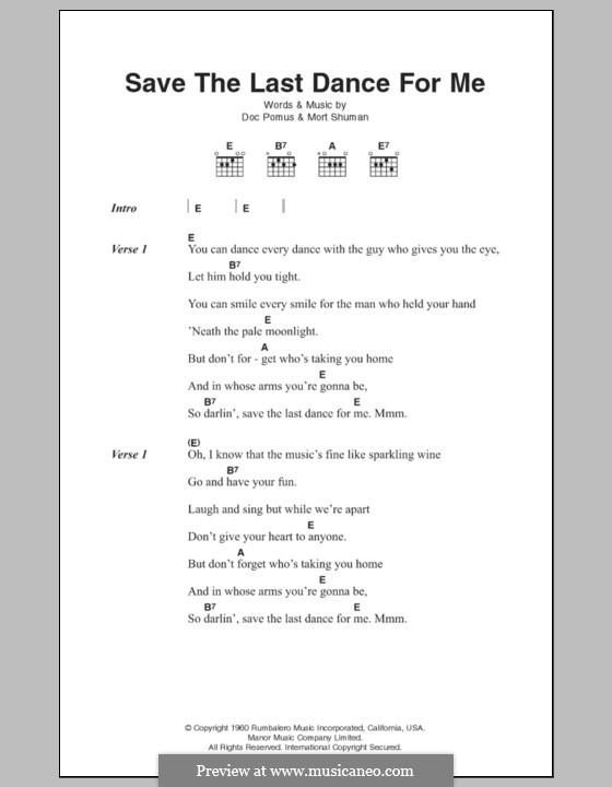 Save the Last Dance for Me (The Drifters): Letras e Acordes by Doc Pomus, Mort Shuman