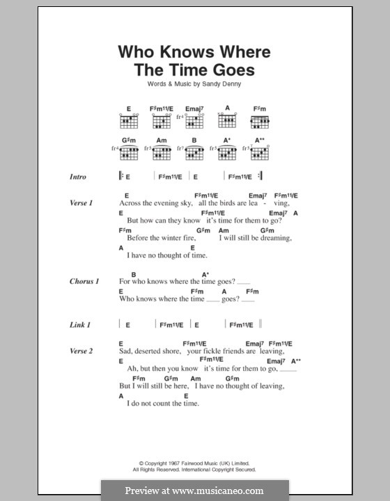 Who Knows Where the Time Goes: Lyrics and chords (Fairport Convention) by Sandy Denny