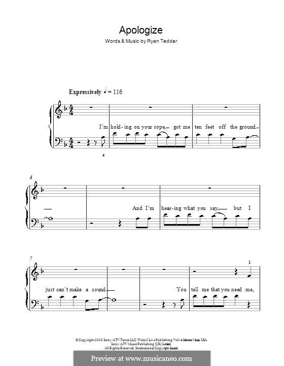 Apologize (OneRepublic): Facil para o piano by Ryan B Tedder